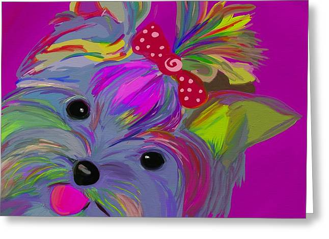 Yorkie Dorkie Greeting Card by Patti Siehien
