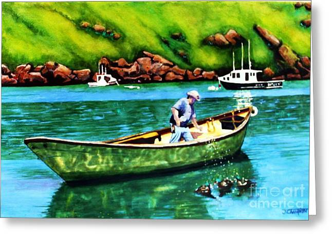 Docked Boats Greeting Cards - The Duck Feeder Greeting Card by Judy CHAMPION