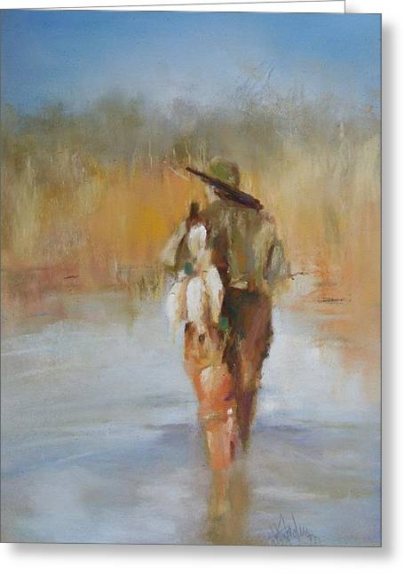Hunting Pastels Greeting Cards - The Duck Hunter Greeting Card by Debbie Anderson
