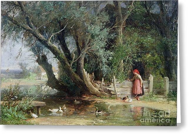 Feeding Greeting Cards - The Duck Pond Greeting Card by Eduard Heinel