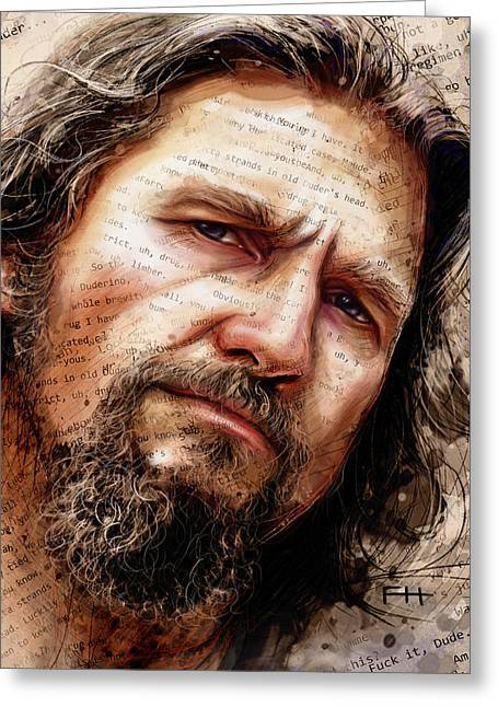Jeff Mixed Media Greeting Cards - The Dude Greeting Card by Fay Helfer