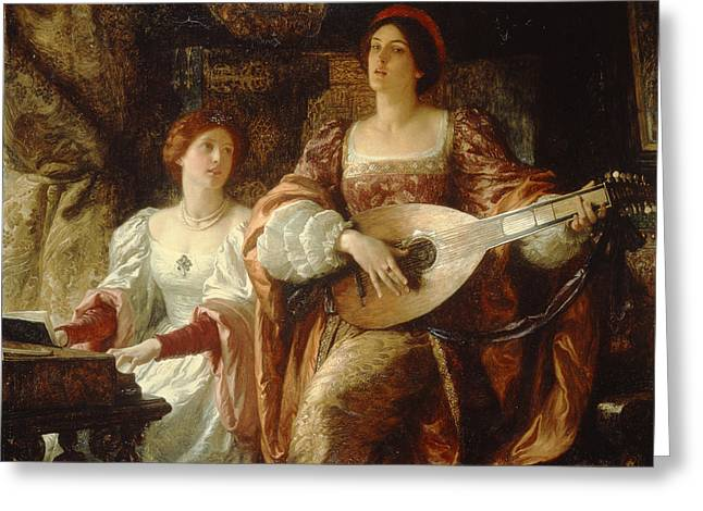 Lute Paintings Greeting Cards - The Duet Greeting Card by Sir Frank Dicksee