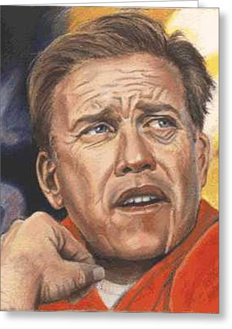 Elway Greeting Cards - The Duke of Denver - John Elway Greeting Card by Kenneth Kelsoe