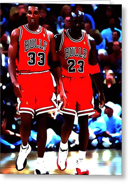 Pippen Mixed Media Greeting Cards - The Dynamic Duo Greeting Card by Brian Reaves
