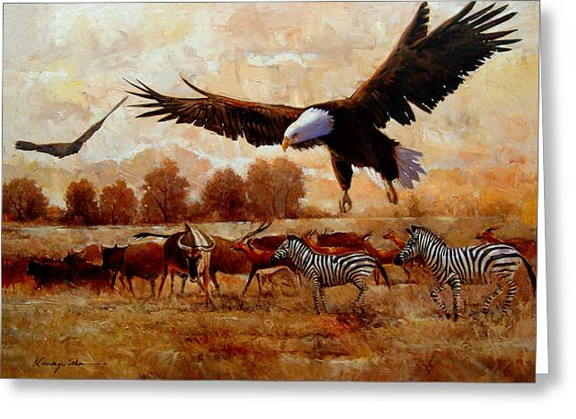 Zebra Canvas Art Prints Greeting Cards - The Eagle - African safari with eagles and zebra art print Greeting Card by Kanayo Ede