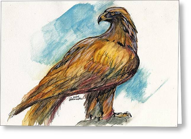 Eagle Drawing Greeting Cards - The Eagle Drawing Greeting Card by Angel  Tarantella