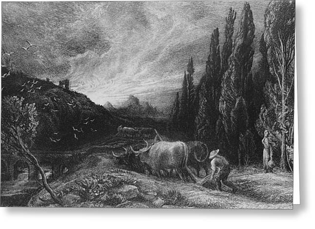 Rural Landscapes Drawings Greeting Cards - The Early Plowman Greeting Card by Samuel Palmer
