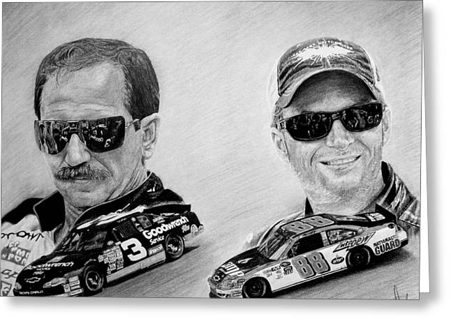 Graphite Greeting Cards - The Earnhardts Greeting Card by Bobby Shaw
