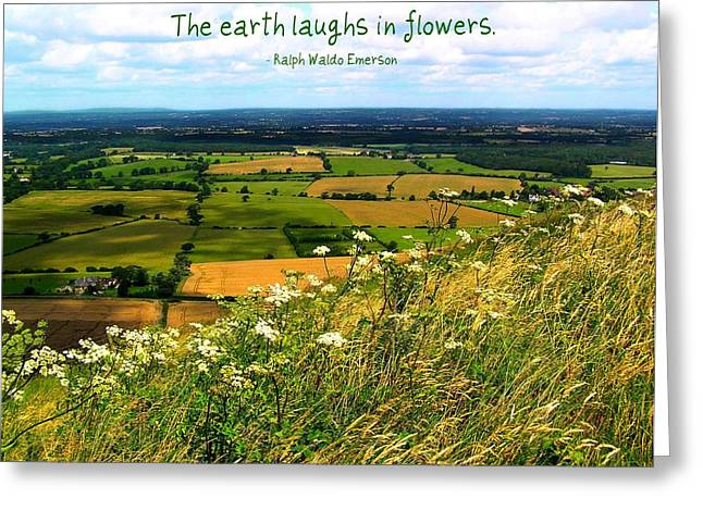 The Earth Laughs in Flowers Greeting Card by Jen White
