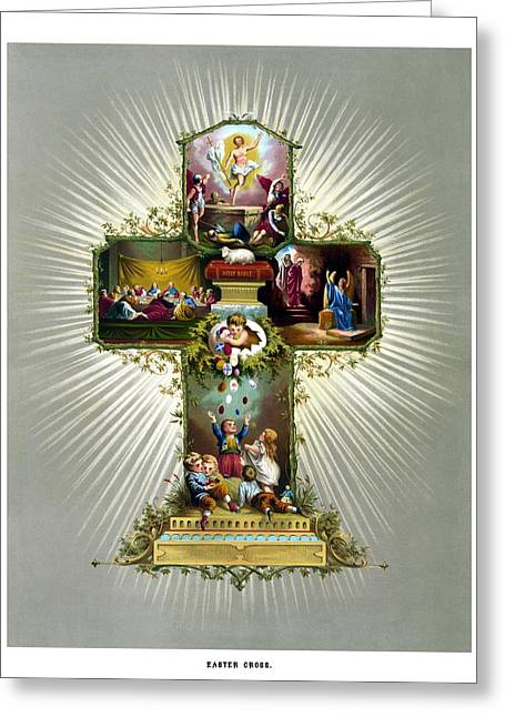 Resurrection Greeting Cards - The Easter Cross Greeting Card by War Is Hell Store