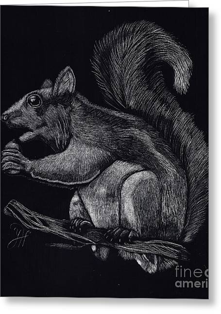 Pets Sculptures Greeting Cards - The Eating squirrel  Greeting Card by Yenni Harrison