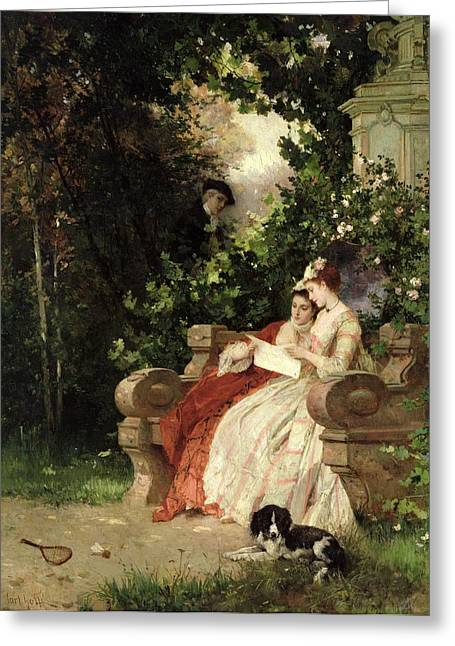 Secret Gardens Greeting Cards - The Eavesdropper Greeting Card by Carl Heinrich Hoff