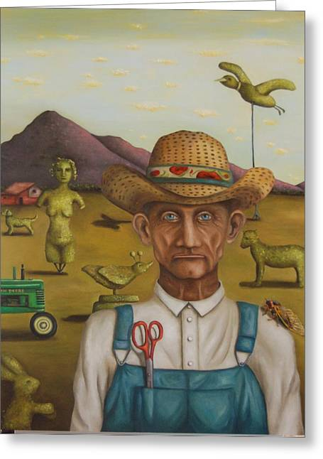 Scissors Greeting Cards - The Eccentric Farmer Greeting Card by Leah Saulnier The Painting Maniac