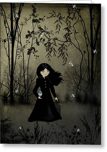 Goth Girl Greeting Cards - The Edge of Night Greeting Card by Charlene Zatloukal