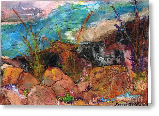 Desert Lake Paintings Greeting Cards - The Edge of the Cliff Greeting Card by Frances Marino