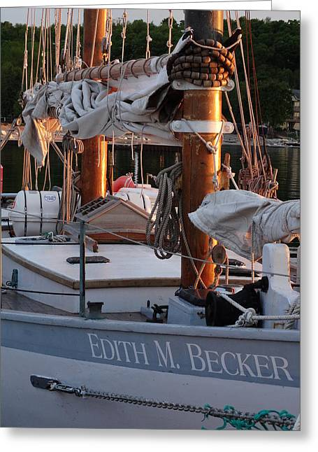 Tall Ship Greeting Cards - The Edith M. Becker at Dock Greeting Card by David T Wilkinson