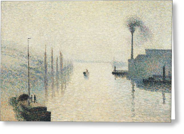 Smokestack Greeting Cards - The Effect of Fog Greeting Card by Camille Pissarro