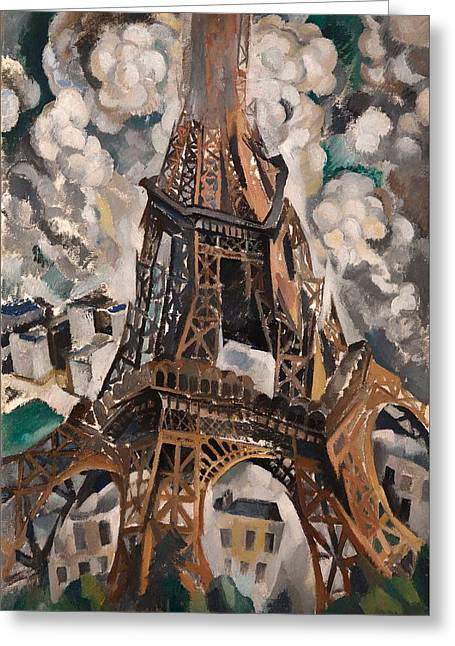 Historical Buildings Paintings Greeting Cards - The Eiffel Tower Greeting Card by Robert Delaunay