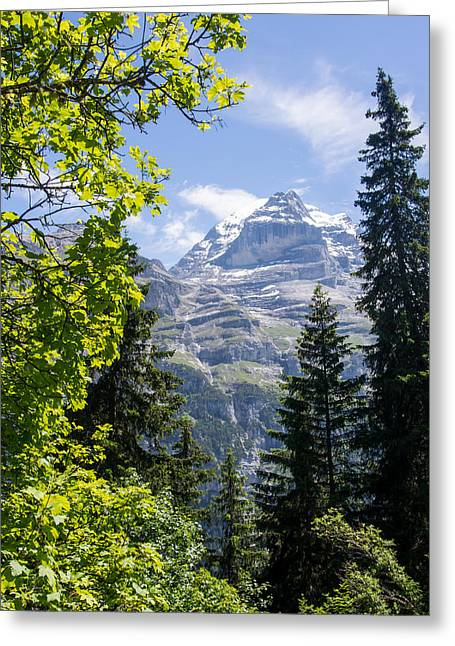 Swiss Photographs Greeting Cards - The Eiger Glimpsed Greeting Card by Justin Woodhouse