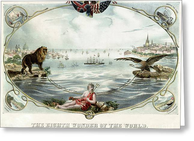 Trans-atlantic Greeting Cards - The Eighth wonder of the world Vintage Poster 1866 Restored Greeting Card by Carsten Reisinger
