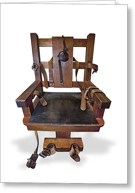 Edison Greeting Cards - The Electric Chair Greeting Card by Gary Warnimont