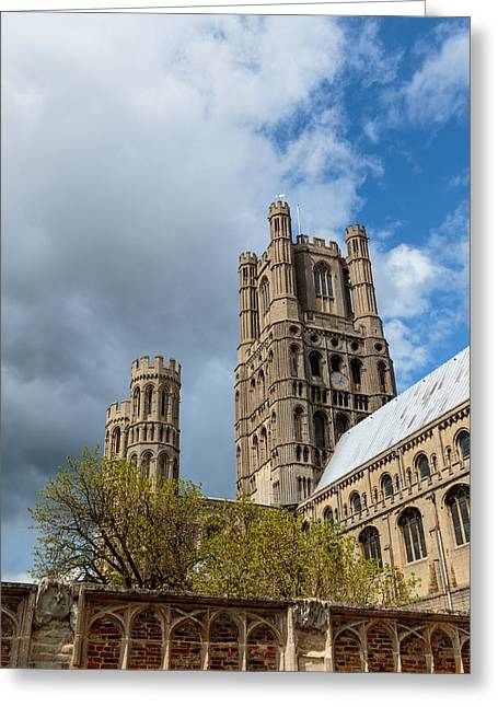 Wooden Ship Greeting Cards - The Ely cathedral tower Greeting Card by Katey jane Andrews