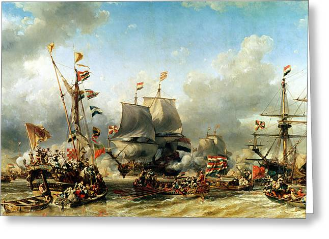 Frigates Paintings Greeting Cards - The Embarkation of Ruyter and William de Witt in 1667 Greeting Card by Louis Eugene Gabriel Isabey
