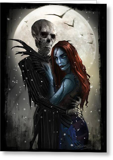 Nightmares Greeting Cards - The Embrace V1 Greeting Card by Alex Ruiz