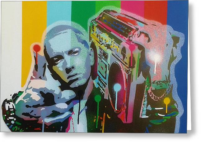 Eminem Paintings Greeting Cards - The Eminem Show Greeting Card by Leon Keay