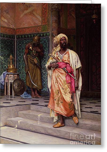 Deutsch; Ludwig (1855-1935) Greeting Cards - The Emir Greeting Card by Ludwig Deutsch