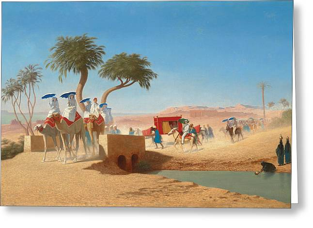 Dusty Blue Greeting Cards - The Empress Eugenie Visiting the Pyramids Greeting Card by Charles Theodore Frere