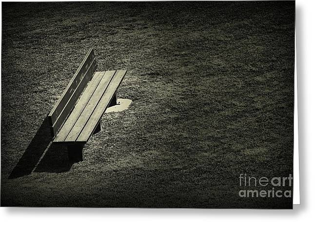 Ultra Modern Greeting Cards - The Empty Bench Greeting Card by Clare Bevan