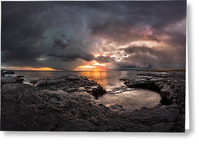 Ocean Panorama Greeting Cards - The End of Days Greeting Card by Sigurdur William Brynjarsson