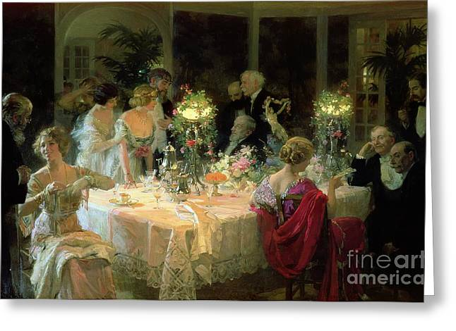 The End Of Dinner Greeting Card by Jules Alexandre Grun