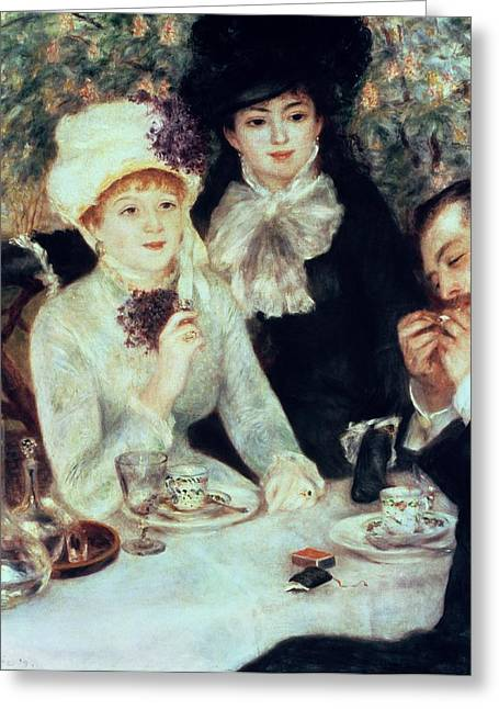 The End Of Luncheon Greeting Card by Pierre Auguste Renoir