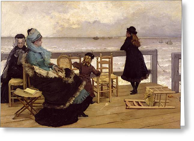 Sea Platform Greeting Cards - The End of October Greeting Card by Ernest Ange Duez