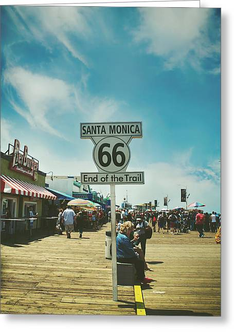 Santa Monica Greeting Cards - The End of Sixty-Six Greeting Card by Laurie Search