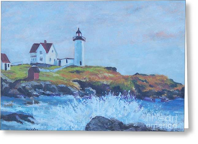 Nubble Lighthouse Paintings Greeting Cards - The End of Summer- Cape Neddick Maine Greeting Card by Alicia Drakiotes