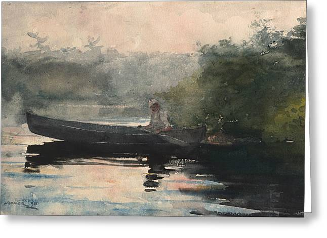 The End Of The Day Adirondacks Greeting Card by Winslow Homer