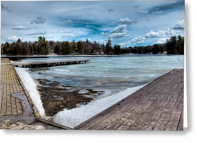 Evergreen Covered In Snow Greeting Cards - The End of Winter on Old Forge Pond in the Adirondack Mountains Greeting Card by David Patterson