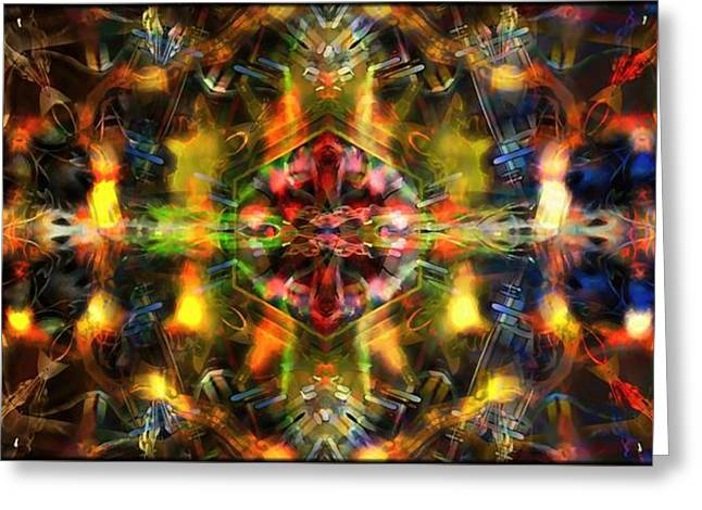 Geometric Art Greeting Cards - The Energy Machine  Greeting Card by Daniel  Arrhakis