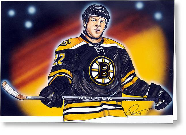 Nhl Hockey Drawings Greeting Cards - The Enforcer  Greeting Card by Dave Olsen