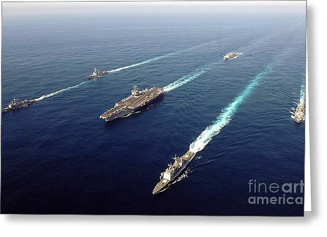 Strike Group Greeting Cards - The Enterprise Carrier Strike Group Greeting Card by Stocktrek Images