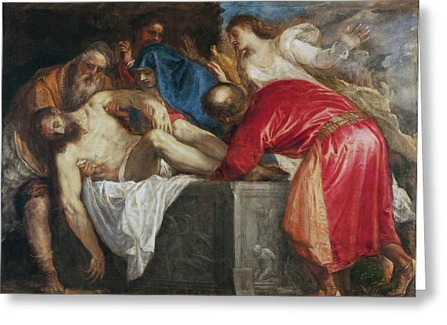 Coffin Greeting Cards - The Entombment of Christ Greeting Card by Titian