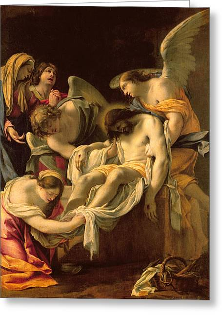 Worship God Paintings Greeting Cards - The Entombment Greeting Card by Simon Vouet