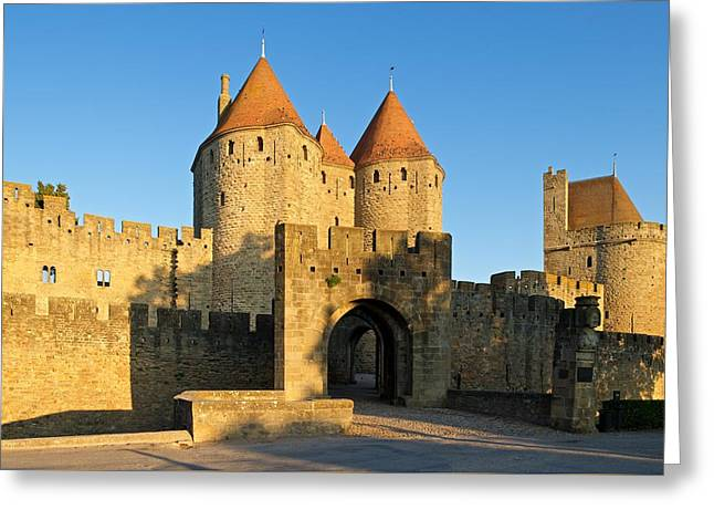 Languedoc Digital Greeting Cards - The entrance to Carcassonne Greeting Card by Stephen Taylor