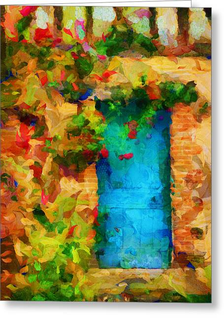 French Doors Greeting Cards - The Entrance To Her Dream - Painting Greeting Card by Sir Josef Putsche