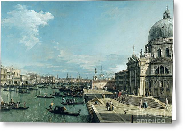The Entrance to the Grand Canal and the church of Santa Maria della Salute Greeting Card by Canaletto