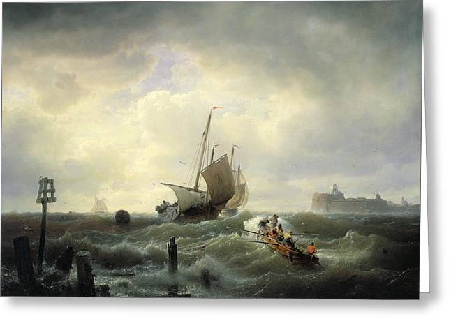Dutch Lighthouse Greeting Cards - The Entrance to the Harbour at Hellevoetsluys Greeting Card by Andreas Achenbach