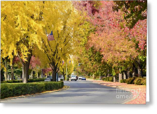 Fall Trees Greeting Cards - The Esplanade Greeting Card by Kathleen Gauthier